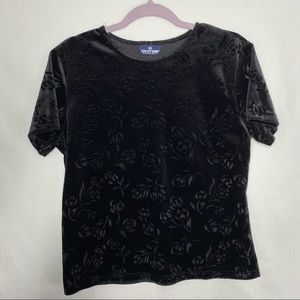 Solutions casualwear black suede floral t shirt